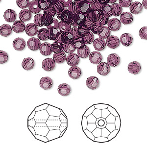 bead, swarovski crystals, crystal passions, amethyst, 4mm faceted round (5000). sold per pkg of 144 (1 gross).