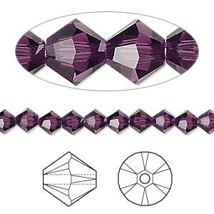 bead, swarovski crystals, crystal passions, amethyst, 5mm xilion bicone (5328). sold per pkg of 144 (1 gross).