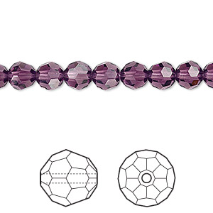 bead, swarovski crystals, crystal passions, amethyst, 6mm faceted round (5000). sold per pkg of 12.