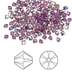bead, swarovski crystals, crystal passions, amethyst ab, 3mm xilion bicone (5328). sold per pkg of 144 (1 gross).