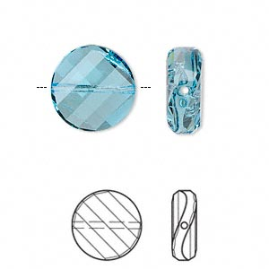 bead, swarovski crystals, crystal passions, aquamarine, 14mm faceted twist with 1-1.6mm hole (5621). sold per pkg of 24.