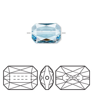 bead, swarovski crystals, crystal passions, aquamarine, 14x9.5mm faceted emerald cut (5515). sold individually.