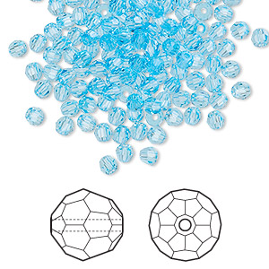 bead, swarovski crystals, crystal passions, aquamarine, 3mm faceted round (5000). sold per pkg of 144 (1 gross).