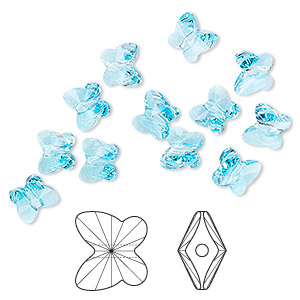 bead, swarovski crystals, crystal passions, aquamarine, 6x5mm faceted butterfly (5754). sold per pkg of 144 (1 gross).