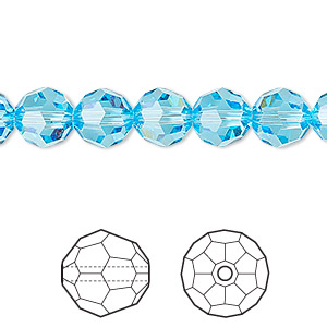 bead, swarovski crystals, crystal passions, aquamarine, 8mm faceted round (5000). sold per pkg of 12.