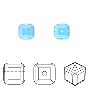 bead, swarovski crystals, crystal passions, aquamarine, 8x8mm faceted cube (5601). sold per pkg of 6.