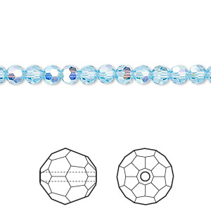 bead, swarovski crystals, crystal passions, aquamarine ab, 4mm faceted round (5000). sold per pkg of 12.