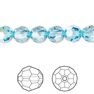 bead, swarovski crystals, crystal passions, aquamarine ab, 8mm faceted round (5000). sold per pkg of 12.