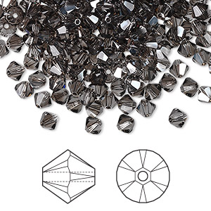 bead, swarovski crystals, crystal passions, black diamond satin, 4mm xilion bicone (5328). sold per pkg of 144 (1 gross).
