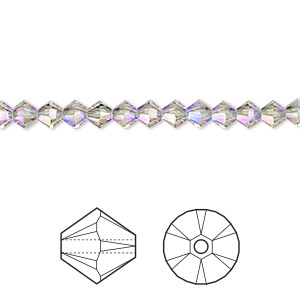 bead, swarovski crystals, crystal passions, black diamond shimmer 2x, 4mm xilion bicone (5328). sold per pkg of 48.