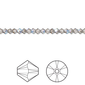bead, swarovski crystals, crystal passions, black diamond shimmer, 3mm xilion bicone (5328). sold per pkg of 144 (1 gross).