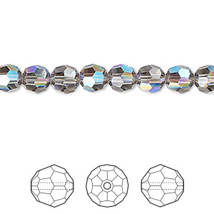 bead, swarovski crystals, crystal passions, black diamond shimmer, 6mm faceted round (5000). sold per pkg of 12.