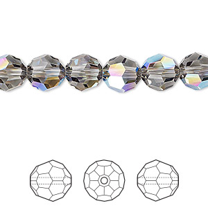 bead, swarovski crystals, crystal passions, black diamond shimmer, 8mm faceted round (5000). sold per pkg of 144 (1 gross).