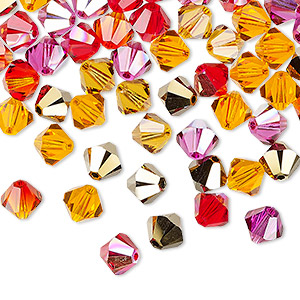 bead, swarovski crystals, crystal passions, blaze, 6mm xilion bicone (5328). sold per pkg of 144 (1 gross).