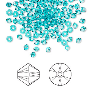bead, swarovski crystals, crystal passions, blue zircon, 3mm xilion bicone (5328). sold per pkg of 48.