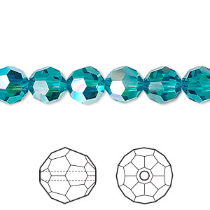 bead, swarovski crystals, crystal passions, blue zircon ab, 8mm faceted round (5000). sold per pkg of 12.