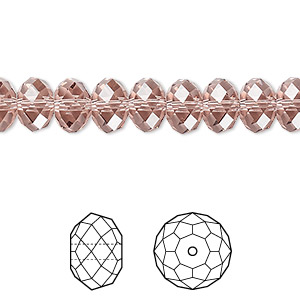 bead, swarovski crystals, crystal passions, blush rose, 8x6mm faceted rondelle (5040). sold per pkg of 144 (1 gross).