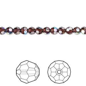 bead, swarovski crystals, crystal passions, burgundy ab, 4mm faceted round (5000). sold per pkg of 12.