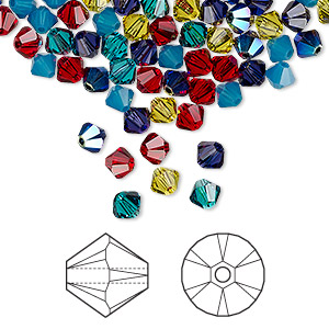 bead, swarovski crystals, crystal passions, candy, 4mm xilion bicone (5328). sold per pkg of 48.