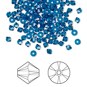 bead, swarovski crystals, crystal passions, capri blue, 3mm xilion bicone (5328). sold per pkg of 144 (1 gross).