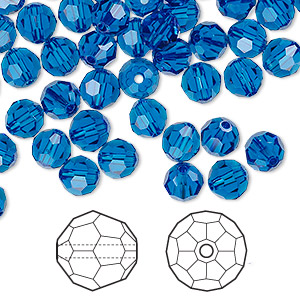 bead, swarovski crystals, crystal passions, capri blue, 6mm faceted round (5000). sold per pkg of 144 (1 gross).