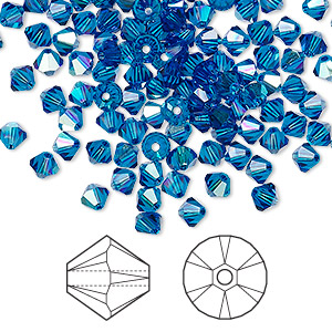 bead, swarovski crystals, crystal passions, capri blue ab, 4mm xilion bicone (5328). sold per pkg of 144 (1 gross).