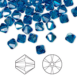 bead, swarovski crystals, crystal passions, capri blue ab, 6mm xilion bicone (5328). sold per pkg of 24.