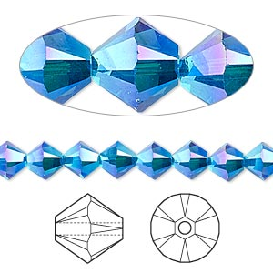 bead, swarovski crystals, crystal passions, capri blue ab2x, 6mm xilion bicone (5328). sold per pkg of 144 (1 gross).