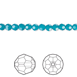 bead, swarovski crystals, crystal passions, caribbean blue opal, 4mm faceted round (5000). sold per pkg of 12.