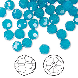 bead, swarovski crystals, crystal passions, caribbean blue opal, 6mm faceted round (5000). sold per pkg of 144 (1 gross).