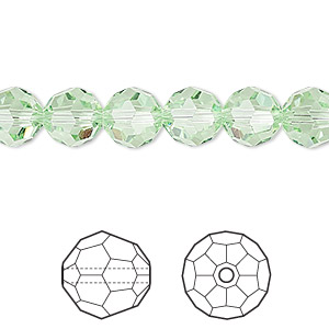 bead, swarovski crystals, crystal passions, chrysolite, 8mm faceted round (5000). sold per pkg of 12.
