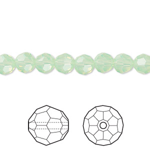 bead, swarovski crystals, crystal passions, chrysolite opal, 6mm faceted round (5000). sold per pkg of 144 ( 1 gross).