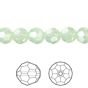 bead, swarovski crystals, crystal passions, chrysolite opal, 8mm faceted round (5000). sold per pkg of 12.