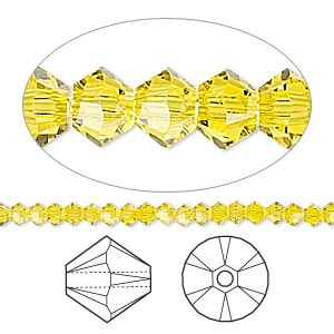 bead, swarovski crystals, crystal passions, citrine, 3mm xilion bicone (5328). sold per pkg of 48.