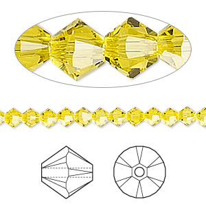 bead, swarovski crystals, crystal passions, citrine, 4mm xilion bicone (5328). sold per pkg of 144 (1 gross).