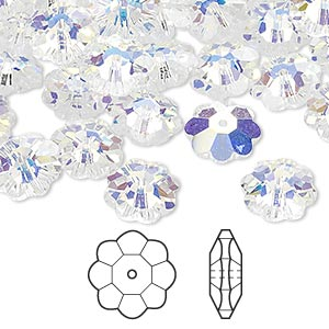 bead, swarovski crystals, crystal passions, crystal ab, 10x3.5mm faceted marguerite lochrose flower (3700). sold per pkg of 12.