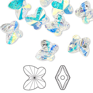 bead, swarovski crystals, crystal passions, crystal ab, 10x9mm faceted butterfly (5754). sold per pkg of 12.