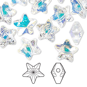 bead, swarovski crystals, crystal passions, crystal ab, 12x12mm faceted star (5714). sold per pkg of 12.