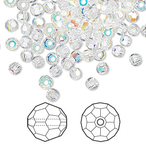 bead, swarovski crystals, crystal passions, crystal ab, 2mm faceted round (5000). sold per pkg of 144 (1 gross).