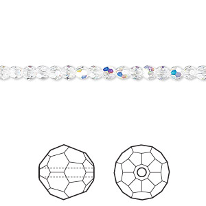 bead, swarovski crystals, crystal passions, crystal ab, 3mm faceted round (5000). sold per pkg of 12.