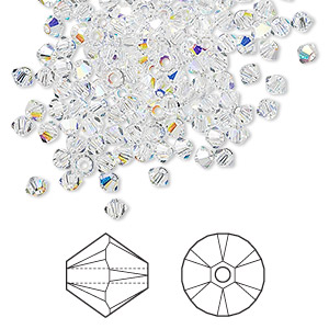 bead, swarovski crystals, crystal passions, crystal ab, 3mm xilion bicone (5328). sold per pkg of 144 (1 gross).