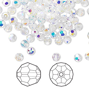 bead, swarovski crystals, crystal passions, crystal ab, 4mm faceted round (5000). sold per pkg of 144 (1 gross).