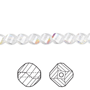 bead, swarovski crystals, crystal passions, crystal ab, 6mm faceted helix (5020). sold per pkg of 12.