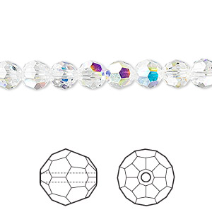 bead, swarovski crystals, crystal passions, crystal ab, 6mm faceted round (5000). sold per pkg of 12.