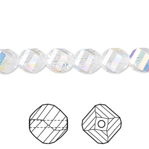 bead, swarovski crystals, crystal passions, crystal ab, 8mm faceted helix (5020). sold per pkg of 144 (1 gross).