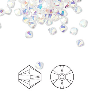 bead, swarovski crystals, crystal passions, crystal ab2x, 4mm xilion bicone (5328). sold per pkg of 48.