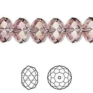 bead, swarovski crystals, crystal passions, crystal antique pink, 12x8mm faceted rondelle (5040). sold per pkg of 12.