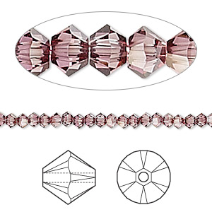 bead, swarovski crystals, crystal passions, crystal antique pink, 3mm xilion bicone (5328). sold per pkg of 48.