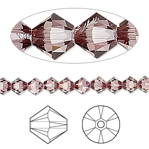 bead, swarovski crystals, crystal passions, crystal antique pink, 5mm xilion bicone (5328). sold per pkg of 144 (1 gross).