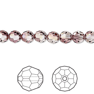 bead, swarovski crystals, crystal passions, crystal antique pink, 6mm faceted round (5000). sold per pkg of 12.